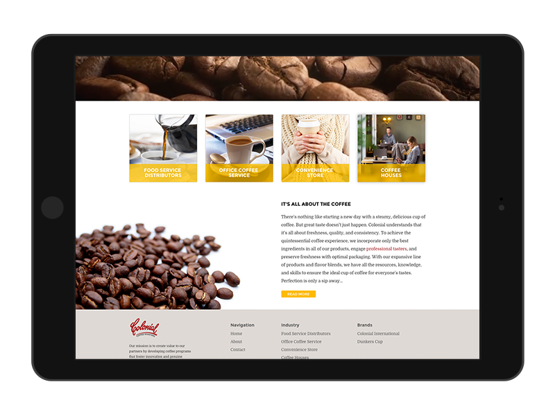 responsive web design Colonial Coffee