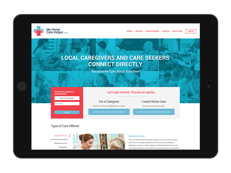 responsive web design for my home care helper website